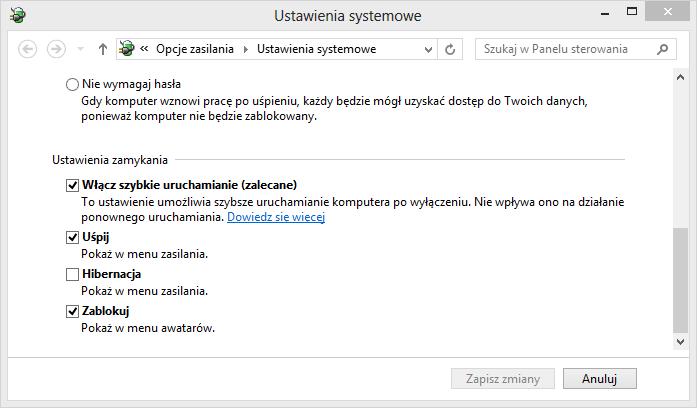 Włączanie szybkiego uruchamiania w Windows 8