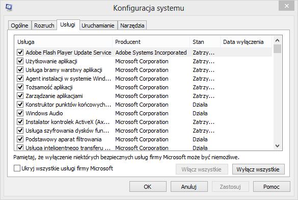 Wyłączanie zbędnych usług z systemu Windows 8