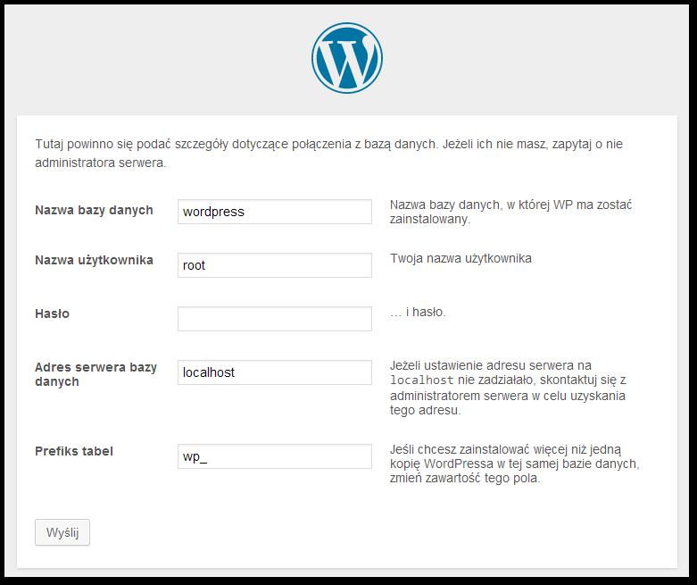 Konfiguracja instalacji Wordpressa