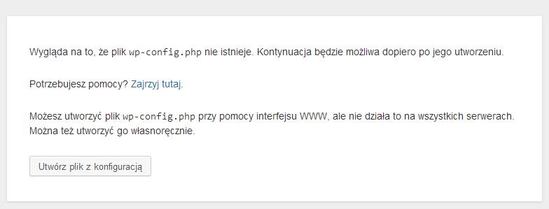 Brak pliku wp-config.php