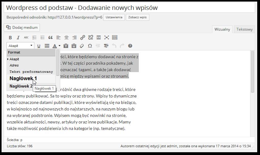 Dostosowywanie stylów tekstu w Wordpressie