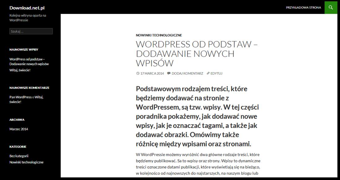 Wordpress - gotowy wpis na stronie