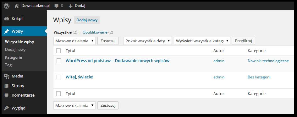 Lista wpisów w Wordpressie