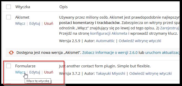 Aktywacja zainstalowanej w Wordpressie wtyczki