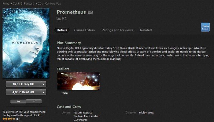 iTunes Store - widok filmu