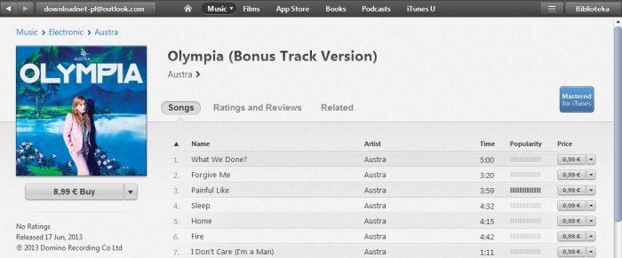 iTunes - widok albumu