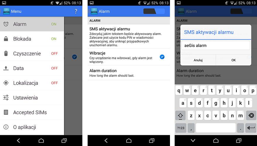 Aegis - pasek boczny i ustawienia alarmu