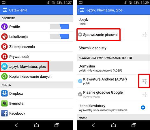 Przejście do ustawień języka i klawiatury w Androidzie