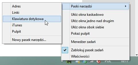 Włączanie klawiatury wirtualnej w Windows 8.1