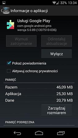 Szczegóły Usług Google Play