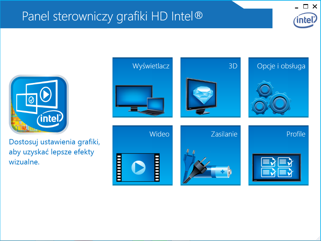 Panel sterowniczy grafiki Intel HD
