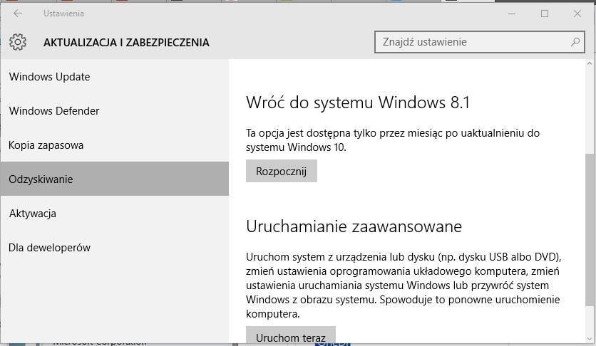 Opcje odzyskiwania w Windowsie 10