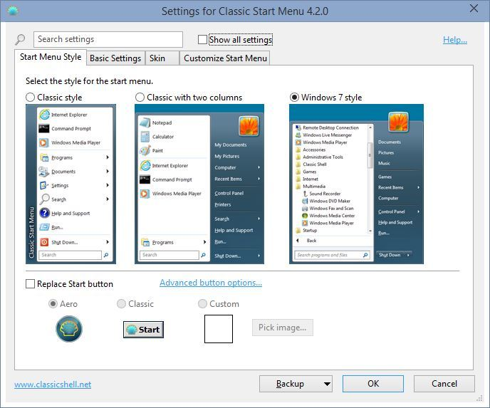 Ustawienia stylu menu Start w Classic Shell