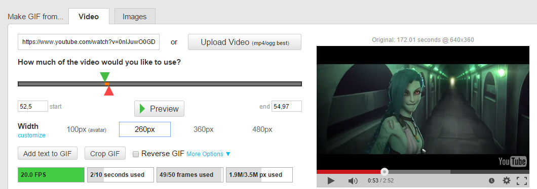 Wskazywanie fragmentu filmu do animacji GIF