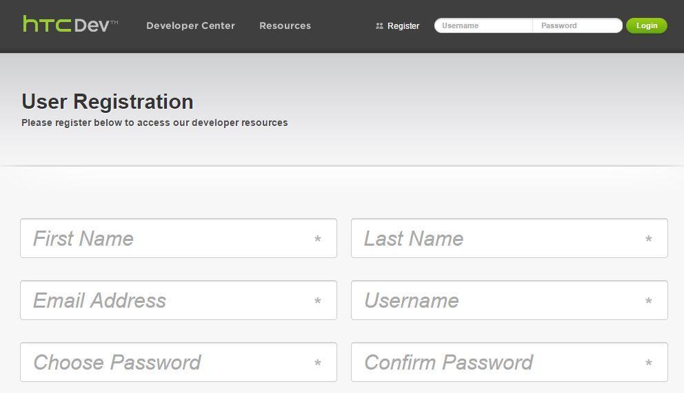 HTCDev - formularz rejestracji konta