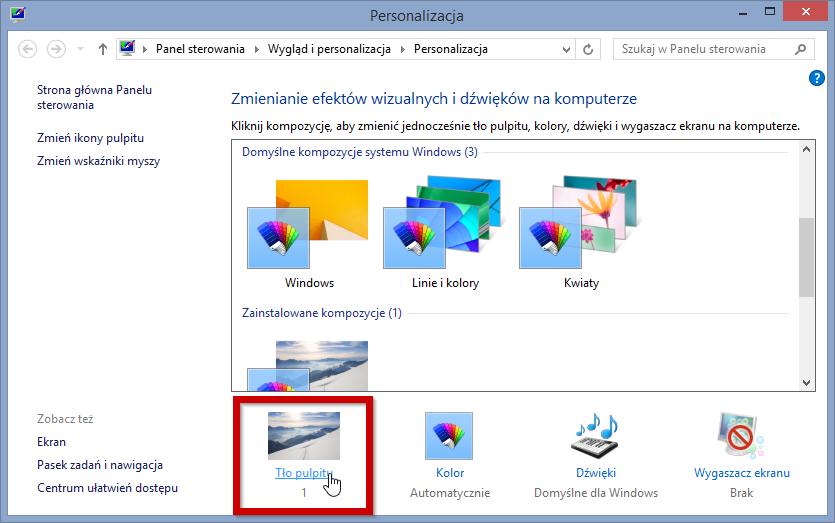 Ustawienia personalizacji systemu Windows 8