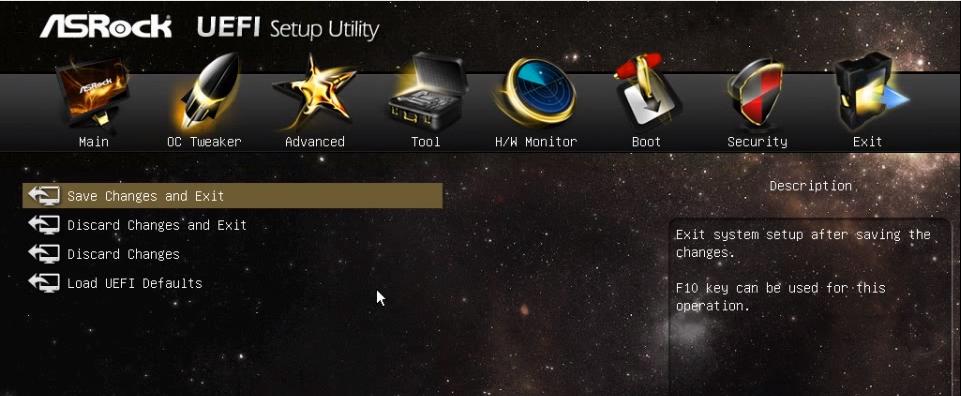 UEFI - domyślne ustawienia