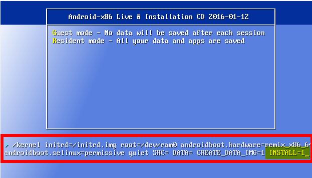 Remix OS - ekran startowy