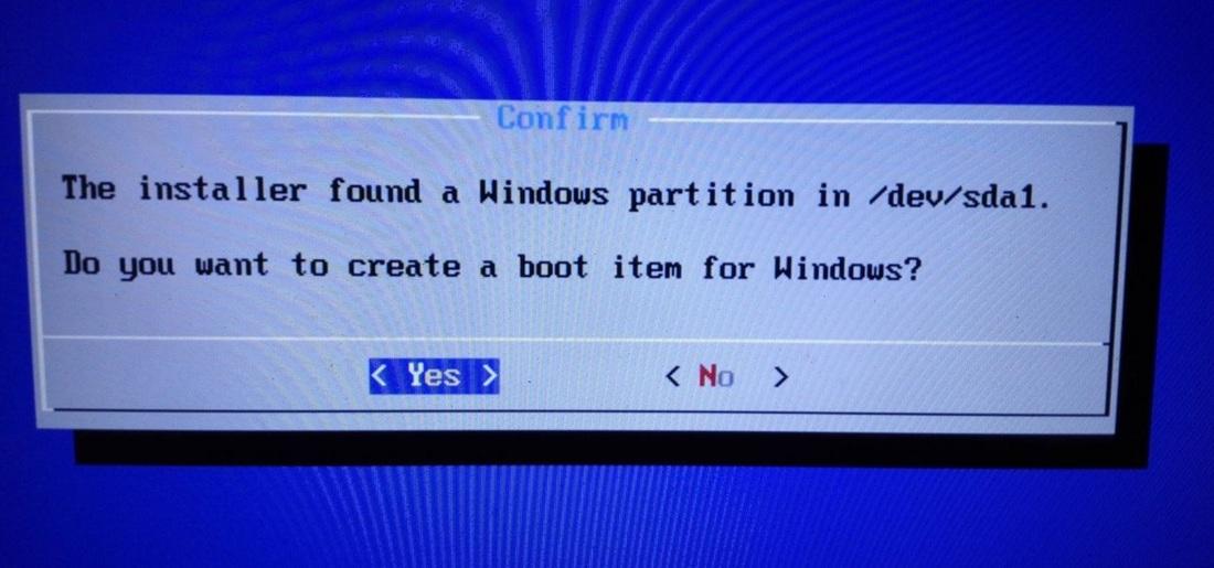 Potwierdzenie dodania wpisu o Windowsie do GRUB
