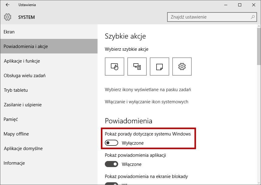Wyłączenie porad w Windows 10
