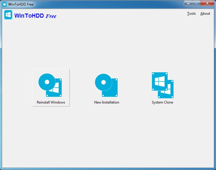 WinToHDD - ekran główny