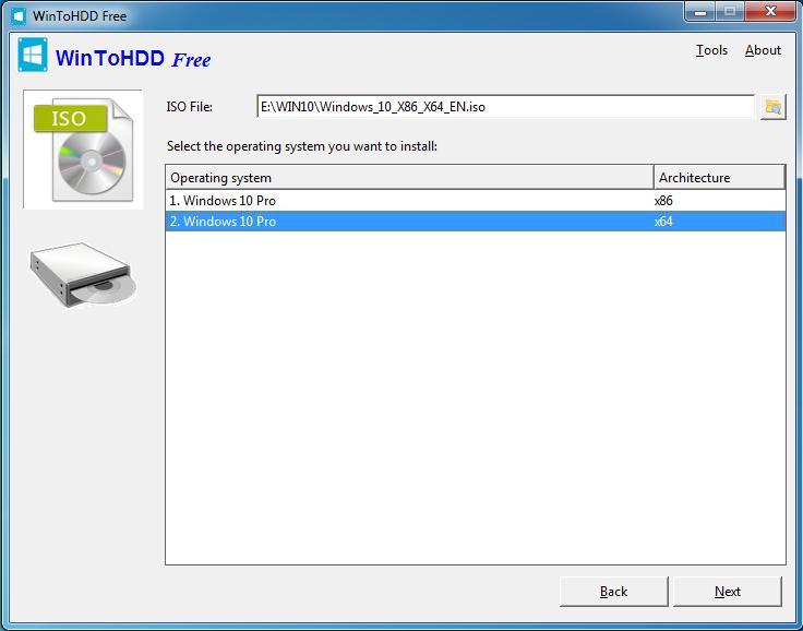 WinToHDD - wskazanie pliku ISO