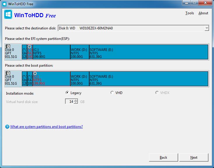WinToHDD - wybór partycji EFI i systemowej