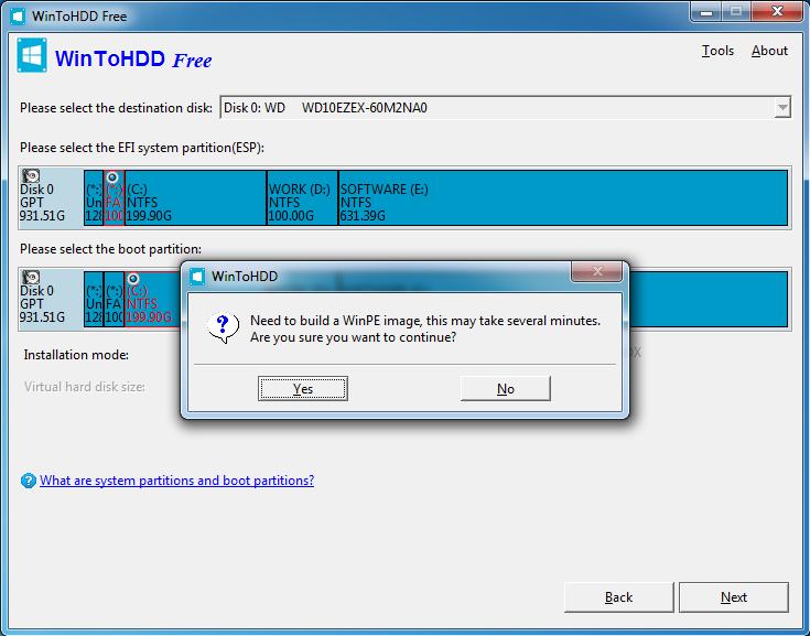 WinToHDD - przygotowanie do instalacji