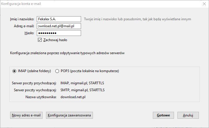b0eaa7ab68ba75 A zatem, wpisujemy nazwę użytkownika, adres e-mail i hasło. Wybieramy  odpowiedni protokół (IMAP, POP3, SMTP) i kończymy konfigurację.
