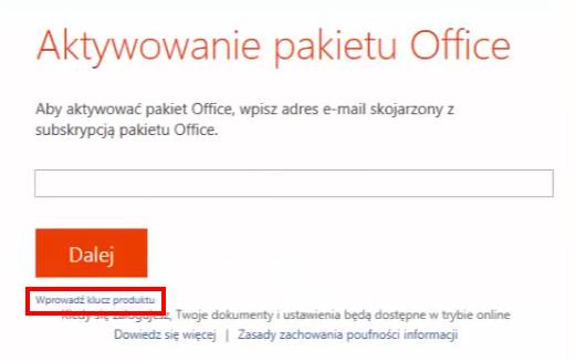 Aktywacja pakietu Office