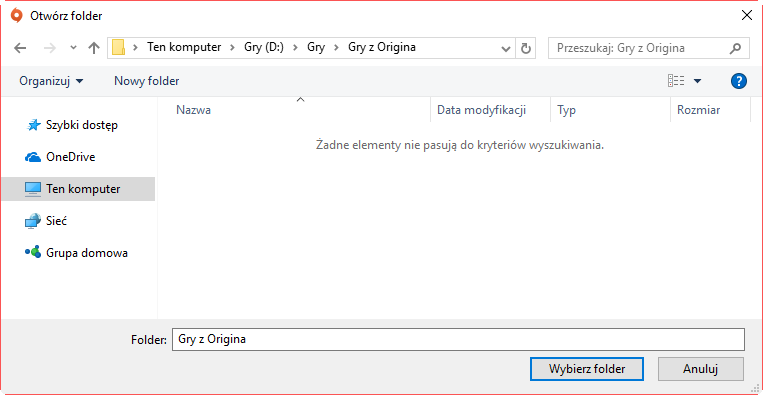 Wybierz nowy folder na bibliotekę gier Origin
