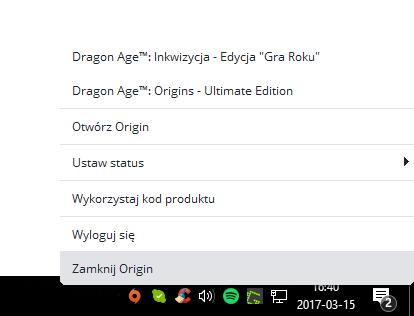 Zamknij program Origin