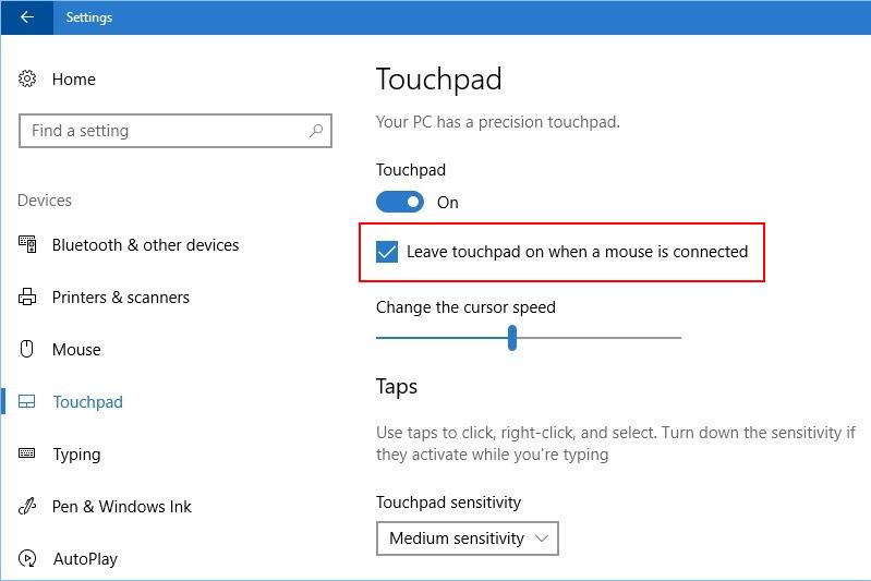 Ustawienia touchpada w Windows 10 Creators Update