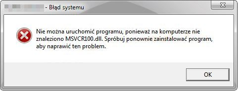 MSVCR100.dll - błąd systemu