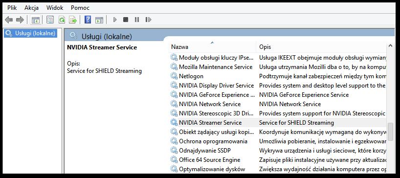 Wyszukiwanie usługi NVIDIA Streamer Service