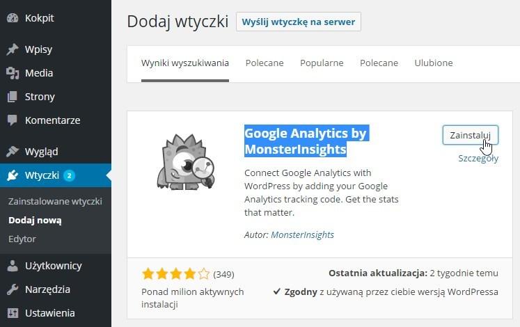 Instalacja wtyczki Google Analytics w Wordpress