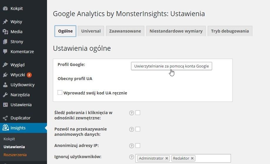 Uwierzytelnianie za pomocą konta Google we wtyczce Google Analytics