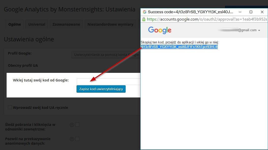 Google Analytics - kod potwierdzający
