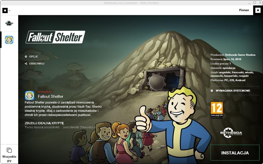 Fallout Shelter - instalacja wersji PC
