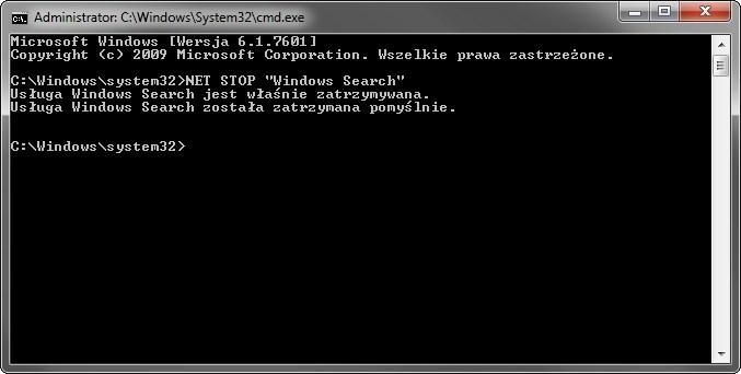 Zatrzymanie usługi Windows Search