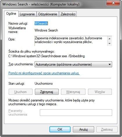 Wyłączanie usługi Windows Search na stałe