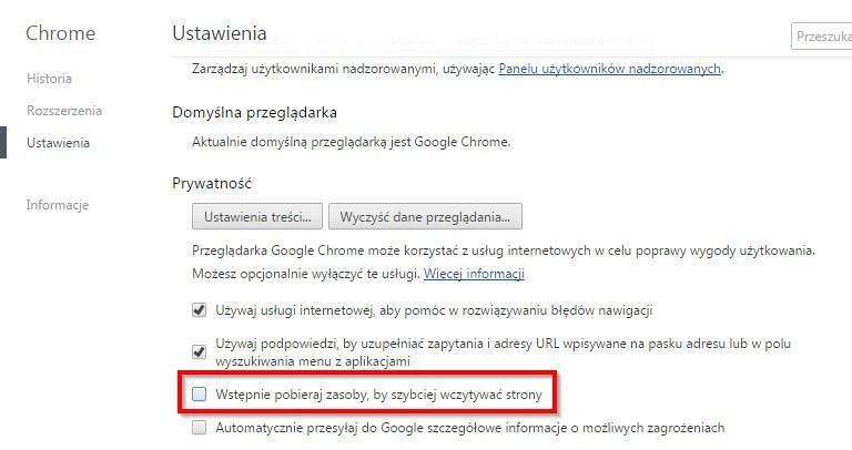 Wyłączenie wstępnego pobierania w Chrome