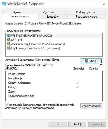 Skype - ustawienia zabezpieczeń