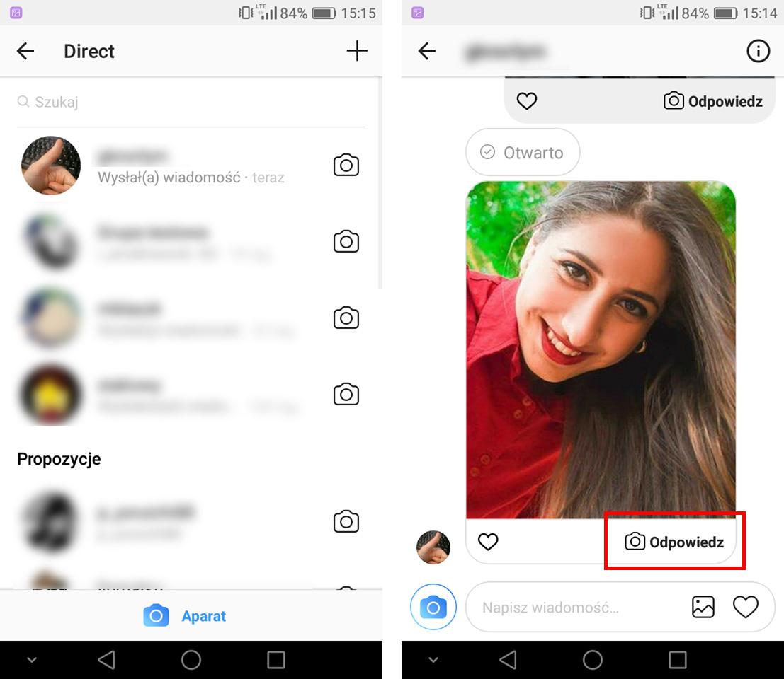 Wejdź do rozmowy Direct w Instagram