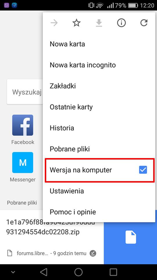 Włącz wersję na komputer w Chrome