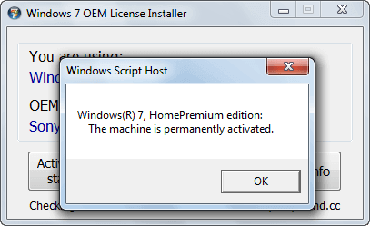 Aktywacja za pomocą Windows 7 OEM License Installer