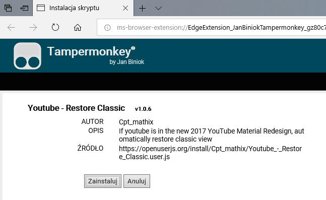 Zainstaluj skrypt do Tampermonkey, aby przywrócić stary YouTube
