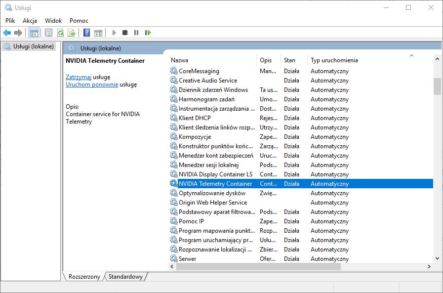 Lista usług w systemie Windows 10