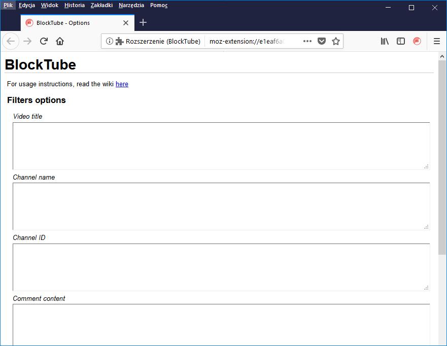 Interfejs dodatku BlockTube