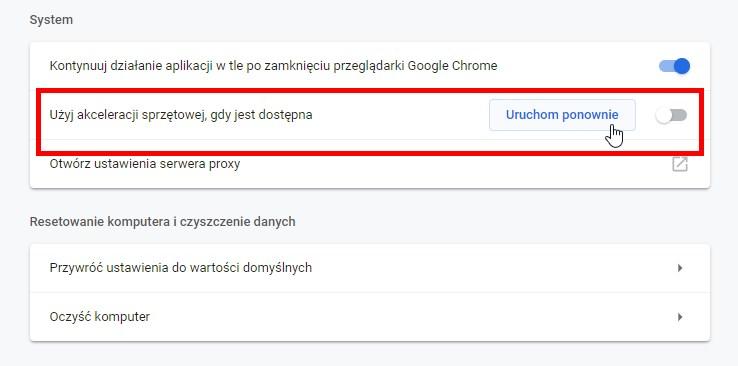 Wyłącz akcelerację sprzętową w Chrome